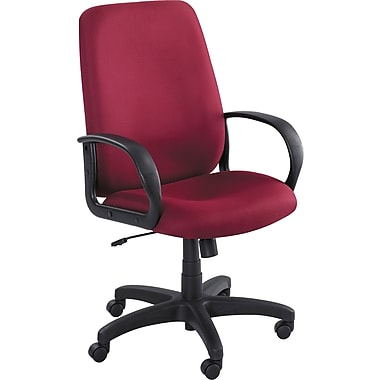Safco 6300BG Poise Polyester High-Back Executive Chair with Fixed Arms, Burgundy