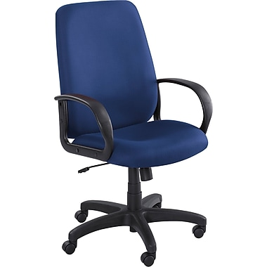 Safco Poise High-Back Polyester Fabric Executive Chair, Fixed Arms, Blue