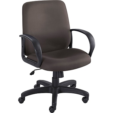 Safco 6301BL Poise Polyester Mid-Back Executive Chair with Fixed Arms, Black