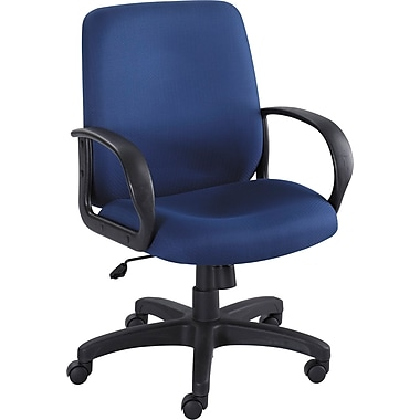 Safco Poise Mid-Back Fabric Executive Chair, Fixed Arms, Blue