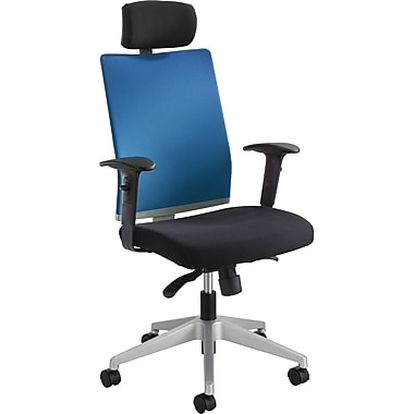 Safco Tez Fabric Managers Office Chair, Adjustable Arms, Black/Calypso (7030CO)