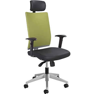 Safco High-Back Fabric Manager's Chair, Adjustable Arms, Green