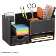 Safco® 9393 Leather Look Small Organizer, Black