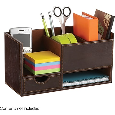 Safco® 9393 Leather Look Small Organizer, Chocolate