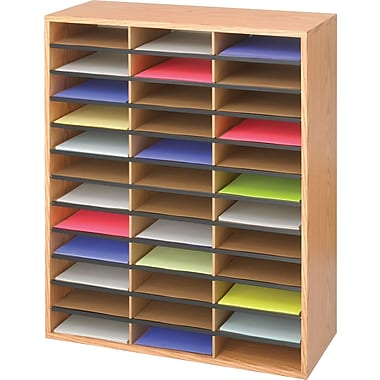 Safco® 9403 Literature Organizer, 34 1/2in.(H) x 29in.(W) x 12in.(D), Medium Oak
