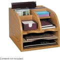 Safco® 9425 Compressed wood 3-Way Corner Radius Organizer, Medium Oak