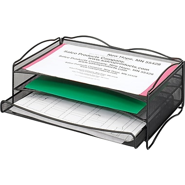Safco® Onyx™ 9438 B-Size 2 Pocket Desk Organizer, 2 Compartments, Black