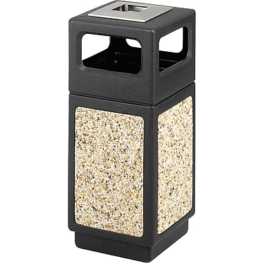 Safco Canmeleon 15 gal. Plastic Side Opening Aggregate Panel without Lid, Black