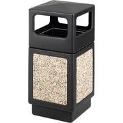 Safco Canmeleon 38 gal. Plastic Side Opening Aggregate Panel without Lid, Black