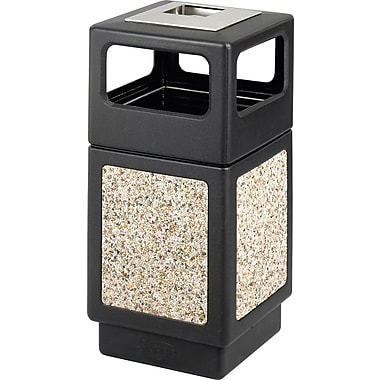 Safco® Canmeleon™ 9473NC Side Opening Square Aggregate Panel With Ash Urn, Black, 38 gal.