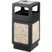 Safco Canmeleon 38 gal. Plastic Side Opening Aggregate Panel with Ash Urn, Black