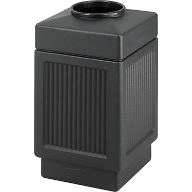 Safco Canmeleon 38 gal. Plastic Open Top Dome Receptacle, Black