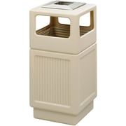 Safco® Canmeleon™ 9477TN Side Opening Square Recessed Panel Receptacle With Ash Urn, Tan, 38 gal.