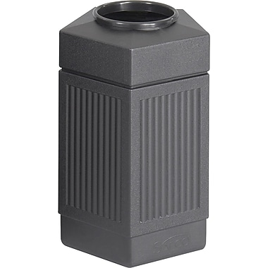 Safco® Canmeleon™ 9485 Indoor/Outdoor Pentagon Waste Receptacle, Black, 30 gal.
