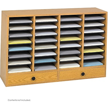 Safco® 9494 Adjustable Literature Organizer, 25 1/4in.(H) x 39 1/4in.(W) x 11 3/4in.(D), Medium Oak