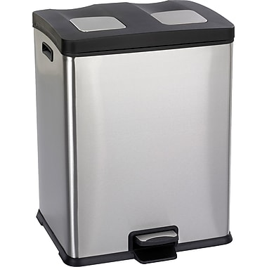 Safco® 9634 Right-Size Recycling Station, Stainless Steel, 15 gal