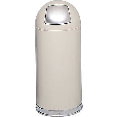 Safco® 9636 Push Door Dome Top Receptacle, Putty, 15 gal.