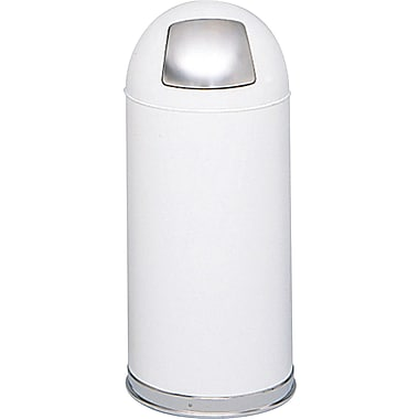 Safco® 9636 Push Door Dome Top Receptacle, White, 15 gal.