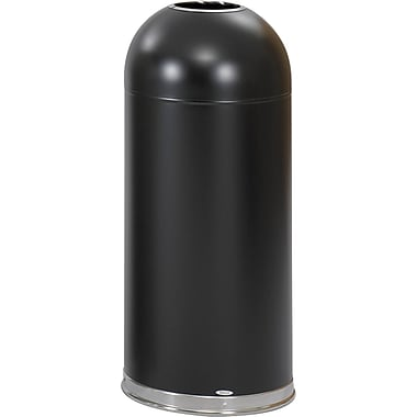 Safco® 9639 Open Top Dome Receptacle, Black, 15 gal.
