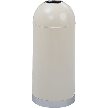 Safco 15 gal. Stainless Steel Open Top Dome Receptacle, Putty