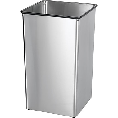 Safco® 9663 Rectangular Receptacle Base, Stainless Steel, 36 gal.