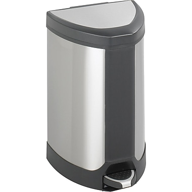 Safco® 9686 Step-On Waste Receptacle, Stainless Steel, 7 gal.