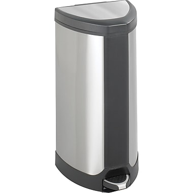 Safco® 9687 Step-On Waste Receptacle, Stainless Steel, 10 gal.