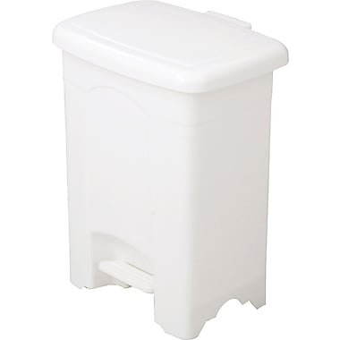 Safco 4 gal. Rectangular Plastic Step Trash Can, White