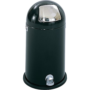 Safco® 9720 Dome Step-On Round Receptacle, Black, 9 gal