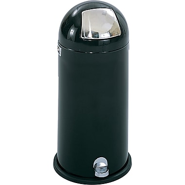Safco® 9722 Dome Step-On Round Receptacle, Black, 15 gal.