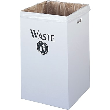 Safco® 9745 Corrugated Square Waste Receptacle, White, 40 gal