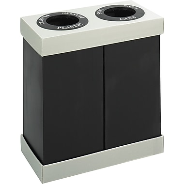 Safco® 9794 At-Your-Disposal® Double Bin Recycling Center, Black, 28 gal