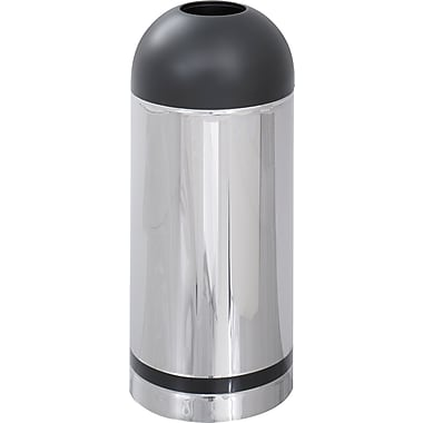 Safco® Reflections® 9871 Round Open Top Dome Receptacle, Black/Silver, 15 gal