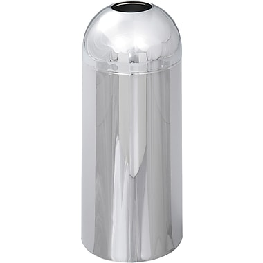 Safco® Reflections® 9875 Round Open Top Dome Receptacle, Chrome, 15 gal