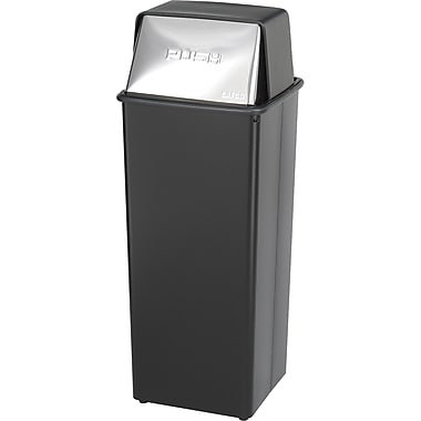 Safco® Reflections® 9893 Square Push Top Receptacle, Black, 21 gal