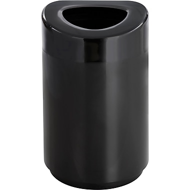 Safco 30 gal. Stainless Steel Open Top Receptacle, Black