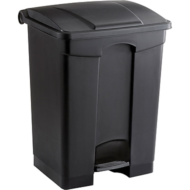 Safco 17 gal. Plastic Step Trash Can, Black
