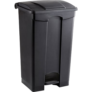 Safco 23 gal. Plastic Step Trash Can, Black