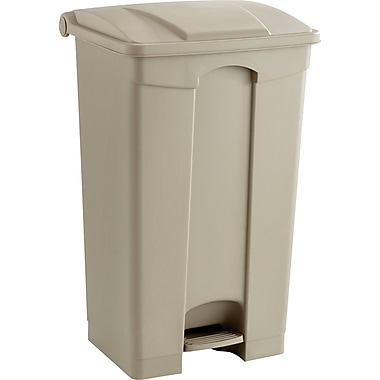 Safco® 9923 Rectangular Large Capacity Step-On Receptacle, Tan, 23 gal.