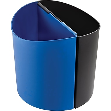 Safco® 9928 Desk-Side Large Recyling Receptacle, Blue/Black, 14 gal