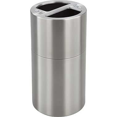 Safco® 9931 Dual Recycling Receptacle, Stainless Steel, 30 gal