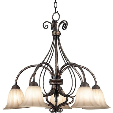 Kenroy Home Wallis 5 Light Chandelier Down, Burnished Bronze Finish