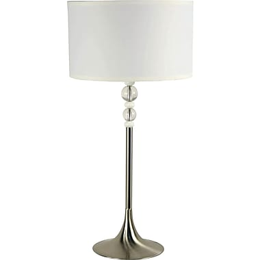 Kenroy Home Luella Table Lamp, Brushed Steel Finish, White and Clear Acrylic Accent