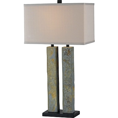 Kenroy Home Barre Table Lamp, Natural Slate Finish