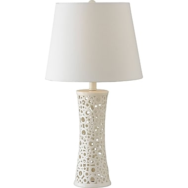Kenroy Home Glover Table Lamp, Gloss White Ceramic Finish