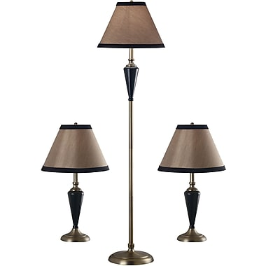 Kenroy Home Hunley Table and Floor Lamp Set, Bronzed Brass Finish