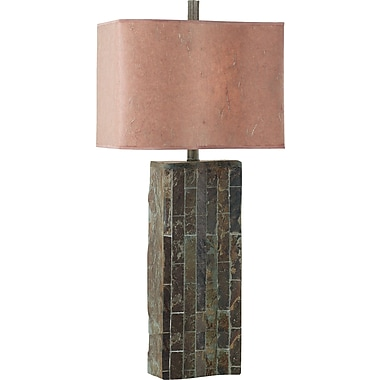 Kenroy Home Ripple Slate Table Lamp, Natural Slate Finish