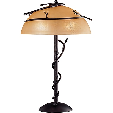Kenroy Home Twigs Table Lamp with Scavo Glass Shade, Bronze Finish