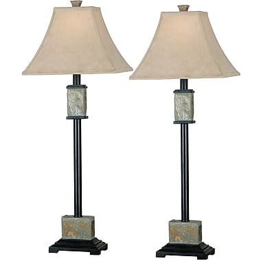 Kenroy Home Bennington Buffet Lamp, Natural Slate Finish