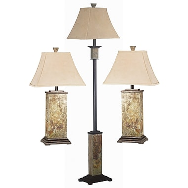 Kenroy Home Bennington Table and Floor Lamp Set, Slate Finish